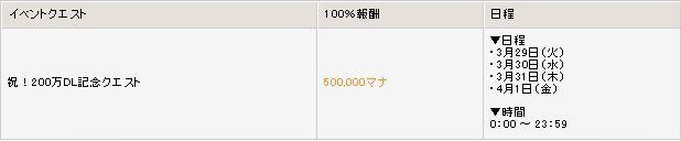 ▼合計200万マナが獲得できるクエスト日程の画像