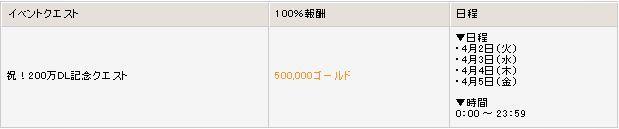▼合計200万ゴールドが獲得できるクエスト日程の画像