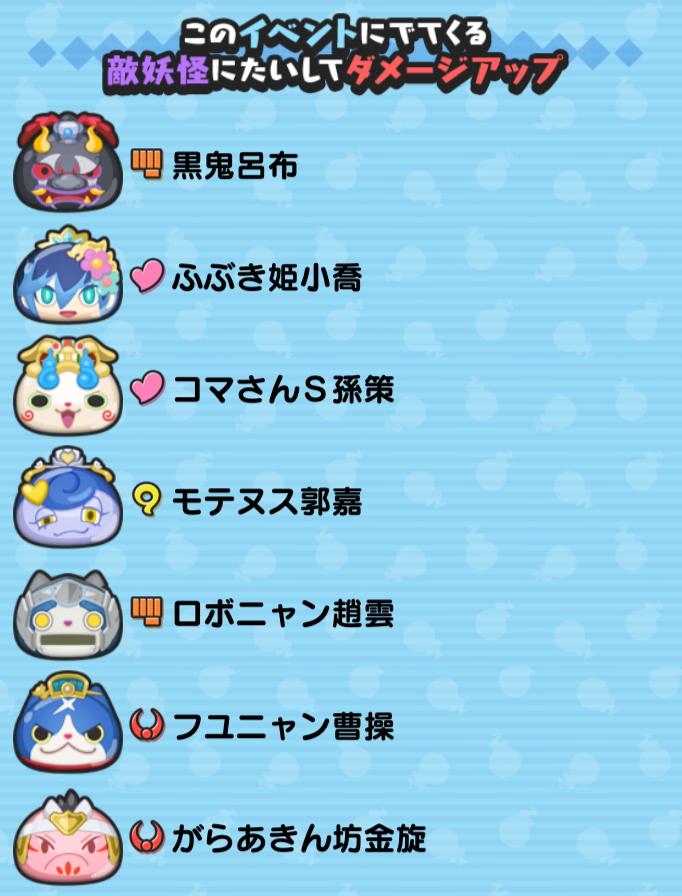 イベント敵妖怪へのダメージアップの画像
