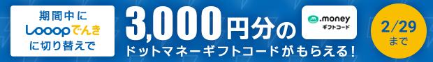 期間中にLooopでんきに切り替えで3000円分のギフトコードがもらえる!