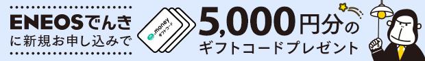 ENEOSでんきに切り替えで5,000マネープレゼント!